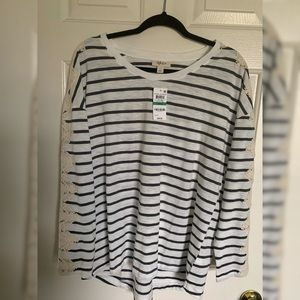 Style & Co NWT Striped Tee with Crochet Detail